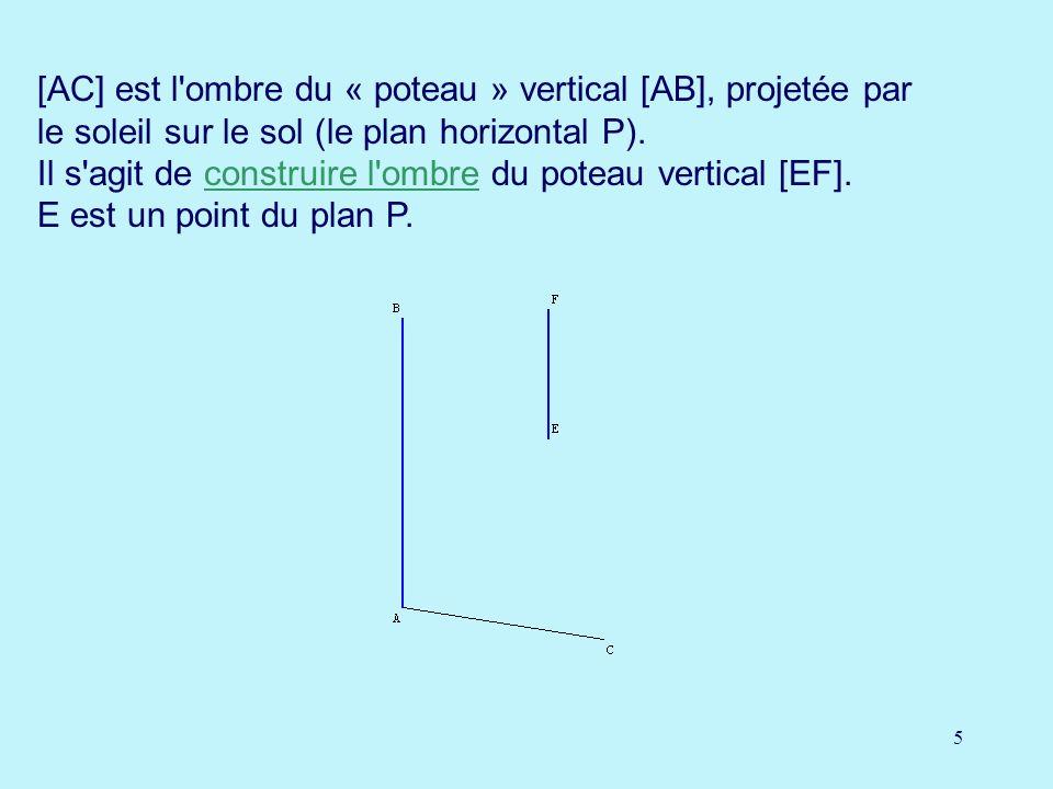 [AC] est l ombre du « poteau » vertical [AB], projetée par le soleil sur le sol (le plan horizontal P).